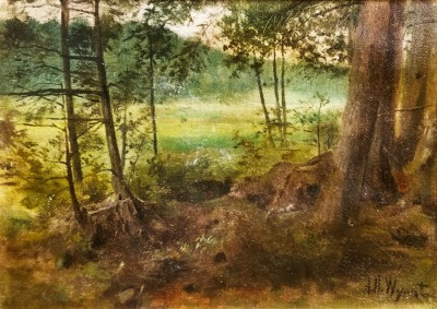 Alexander Helwig Wyant Forest Clearing 8 1/2x12 oil on board