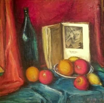 Alta West Salisbury Still Life with Fruit 24x24 Oil on Canvas