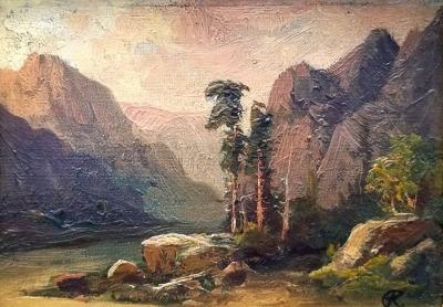 Clarence Ellsworth Black Canyon Utah 1907  4x6 oil on board 350