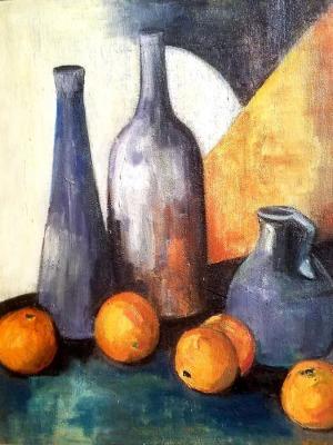 Helene Dubon Hyde Modernist Still Life 30x24 Oil on Board