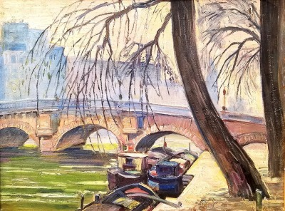 Irving Manior Boats on the Seine Paris 20x24 oil on board $475