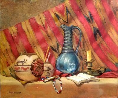 Jean Drogkamp Still Life with Jug 20x24 oil on canvas $475