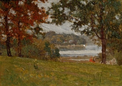 Otto Hake Lakeside Meeting 7x10 oil on canvas board