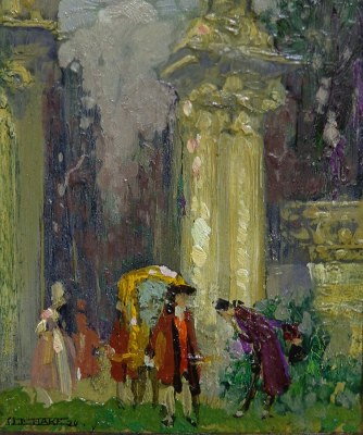 Otto Hake The Royal Meeting 4x4 oil on board