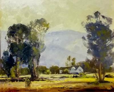 Unknown Artist House in a Landscape 13x17 Oil on Board