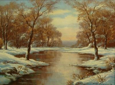 Anton Gutenknecht Winter's Stream 20x24 Oil on Canvas