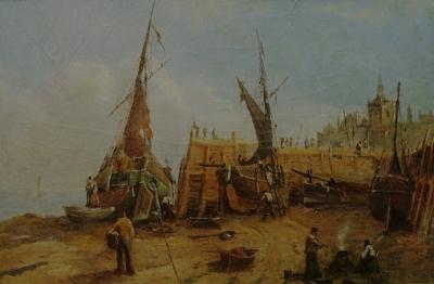 Augustus Vincent Tack The Shipyard 9x14 Oil