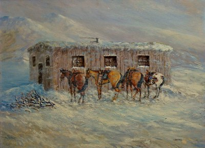 Claude Backus Wyoming in Winter 22x30 Oil on Board
