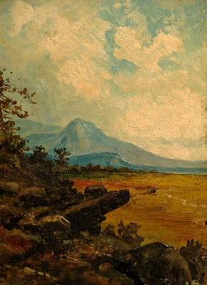 Attributed to Henry H. Cross Valley Vista 8x6 Oil on Panel
