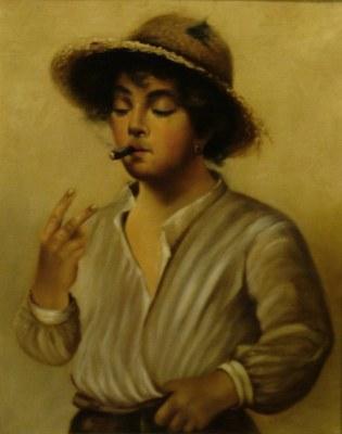 L E Cook Smoking Boy 17x13 Oil on Canvas