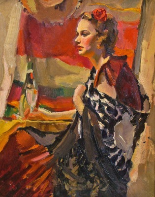 Ralph Von Lehmden Senorita with Shawl 20x16 Oil on Board