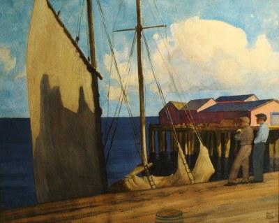 Robert Wesley Amick Ready to Sail in Sausalito 22x30 Watercolor