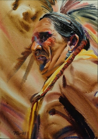 Allen Polt Indian Medicine Man 16x12 Watercolor