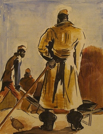 Frank Hiteshew Work Crew 9x7 Watercolor