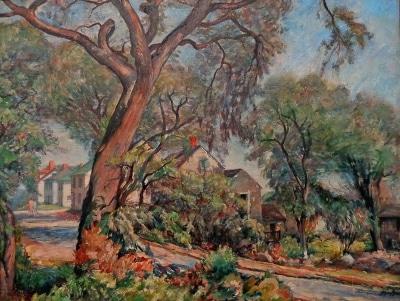 J. Barry Greene Village Upstate New York 26x34 Oil on Canvas