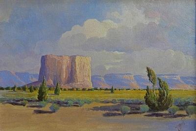 J. R. Willis The Enchanted Mesa-Acoma Pueblo 13x19 Oil on Canvas