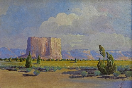 J. R. Willis The Enchanted Mesa-Acoma Pueblo 13x19 Oil on Canvas