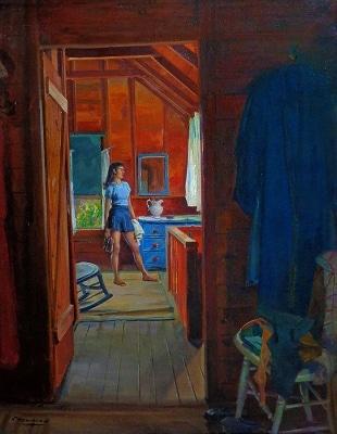 Joseph Newman At the Beach House 30x24 Oil on Canvas