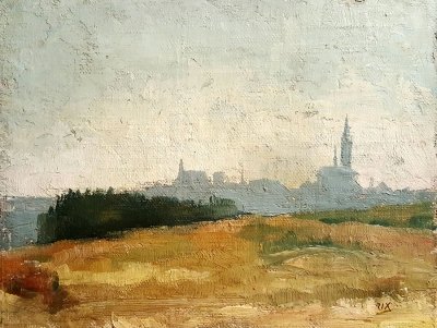 Julian Rix Pont-Croix Brittany 8.5x10.5 oil on board