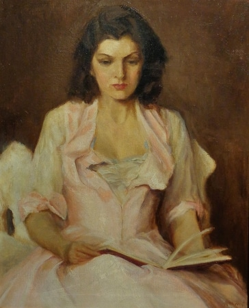 Kenworthy Gardner Young Woman Reading 28x22 Cil on Canvas