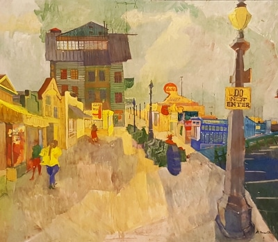 Morton Dimondstein The Boardwalk 33x38 Oil on Board