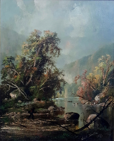 John R Johnston Hudson River Valley Landscape (1896) 16x10.5 Oil on Canvas