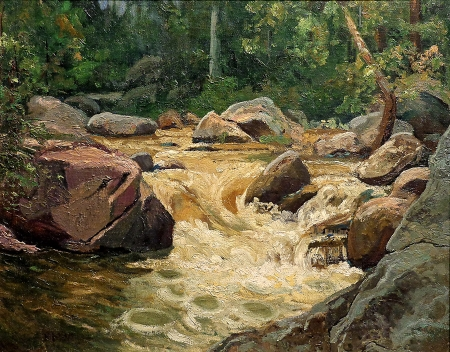 Robert F. Motley Rushing Creek 16x20 Oil on Board