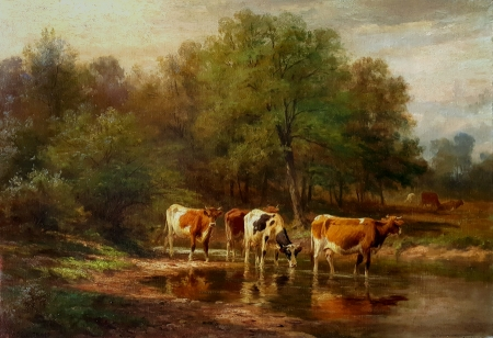 Thomas B. Craig At the Watering Hole 18x26 oil on canvas