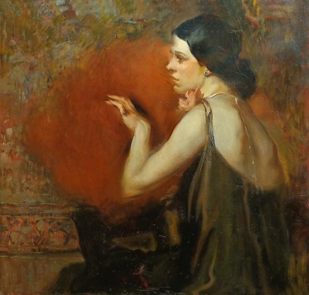 Unknown Lady with Feather Fan 24x26 Oil on Canvas