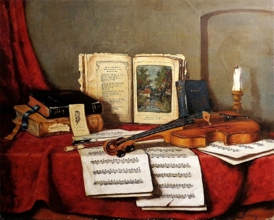 Unknown Artist Still Life with Violin 24x30 Oil on Canvas