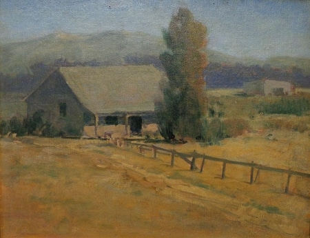 Unknown Artist circa 1920's New Mexico Homestead 14x18 Oil on Board