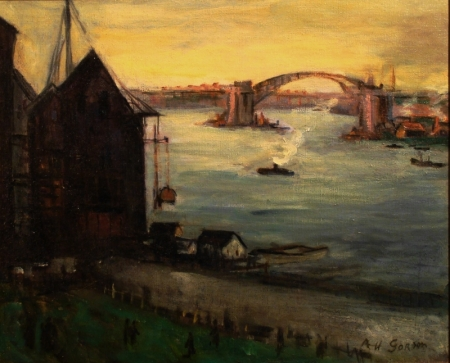 Aaron H Gorson South Pittsburgh Harbor 18x22 Oil on Canvas