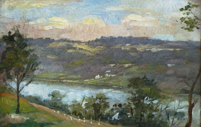 Albert H Ulrich Along the Ohio River 7x10 Oil on Board