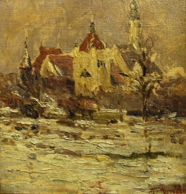 Armand Monaco German Building Chicago Exposition 12x11 Oil