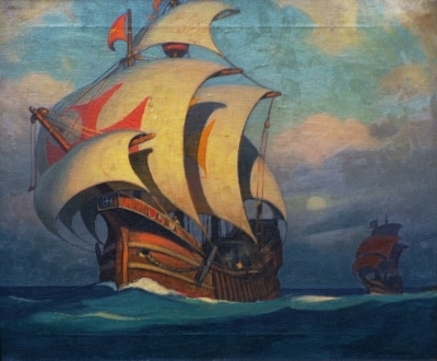 Cecil Chichester Spanish Galleon 20x24 Oil on Canvas