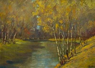 Charles Aspens along the River 18x24 Oil