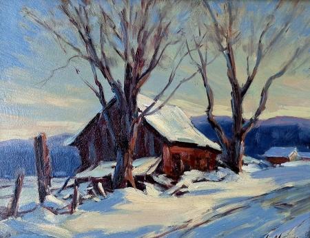 Clement Metivier Winter Farmhouse 9x12 Oil on Board