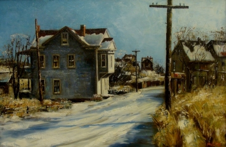 Harold Molter Winter Street 20x30 Oil