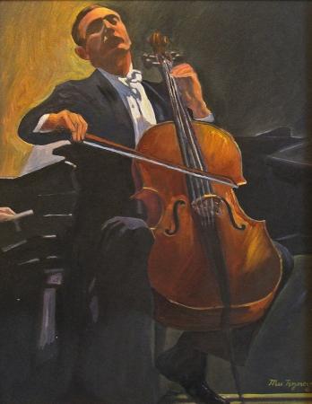 Max Raymer Cello Maestro 14x11 Oil on Paper