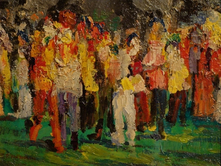 Modern oil painting by Paulette Van Roekens of people in a crowd with lots of color and heavy pallete painting