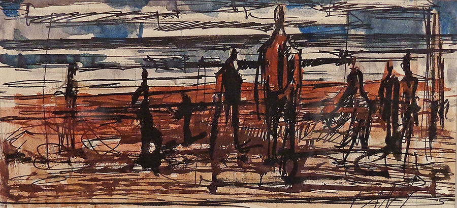 Milford Zornes The Survivors 4x7 Watercolor
