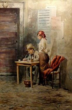 Casimiro Tomba Aldini Checking the Figures 21x14 Watercolor