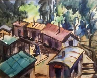 Charles Keck Mining Camp 9x12 Watercolor