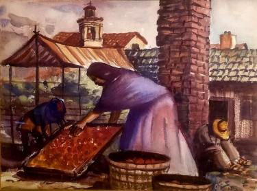 Charles Keck Washing the Fruit 11x15 Watercolor