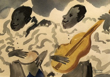 Dorothy Sklar Cuban Guitarists 5x7 Watercolor