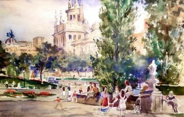 Fred D Penny Gathering in the Park 10x15 Watercolor