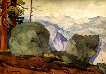 Fred M Sersen Yosemite Vista 15x22 Watercolor