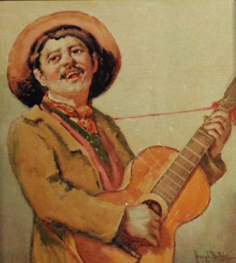 Henry L Richter Guitar Player 14x12 Watercolor