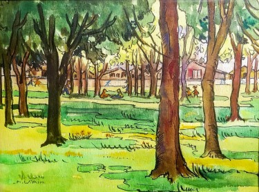 Mildred P Wilkin Lets Have a Picnic 9x12 Watercolor