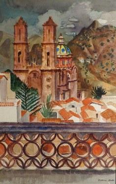 Millard Sheets Taxco Cathedral 28x20 Watercolor
